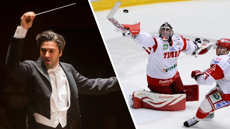 En dirigent som viftar med pinnen. En ishockeymålvakt som räddar en puck.