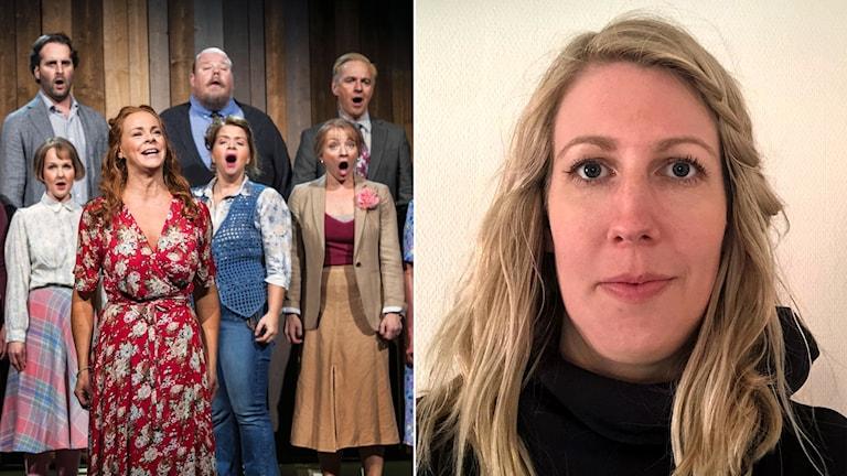 Maria Harkman bredvid en bild på Malena Ernman och den övriga ensemblen sjungandes i musikalen Så som i himmelen.