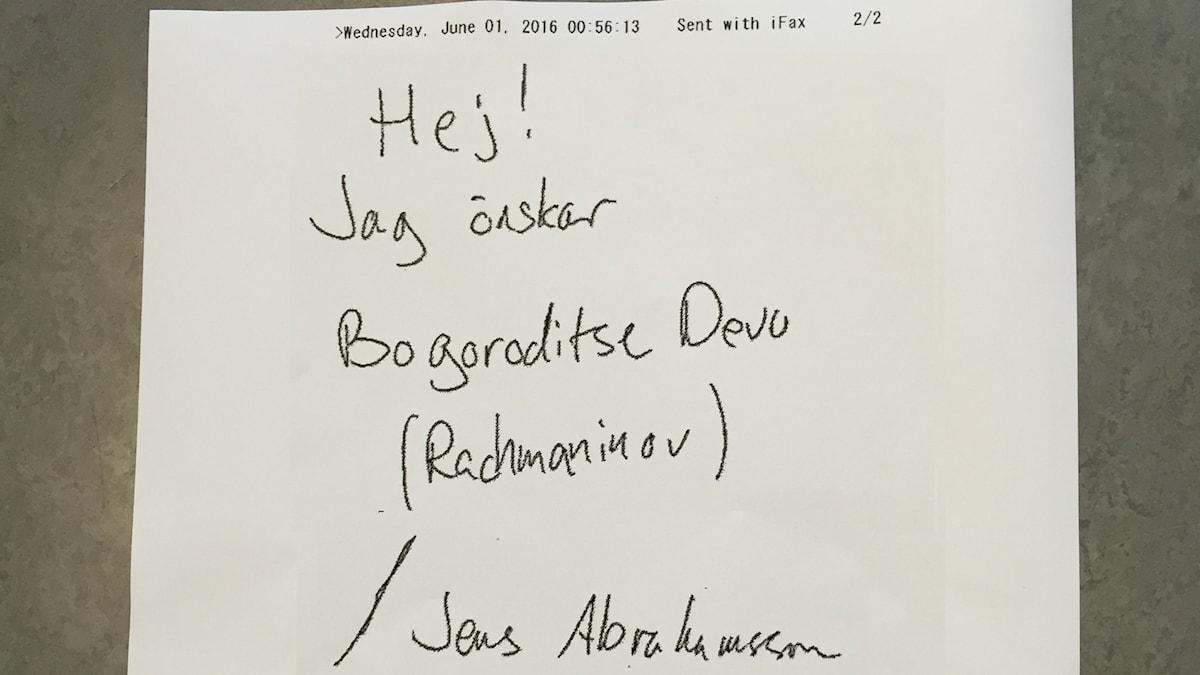 Bild på faxutskrift med musikönskning om Rachmaninovs Bogoroditse Devo.