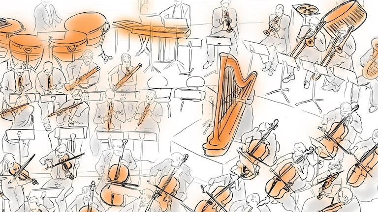Tecknad bild på en symfoniorkester.