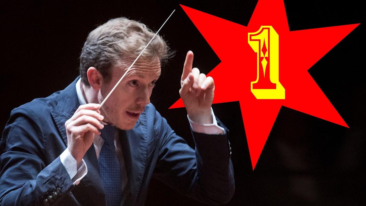 Dirigenten Daniel Harding och en bildredigerad stjärna med en stor etta i.