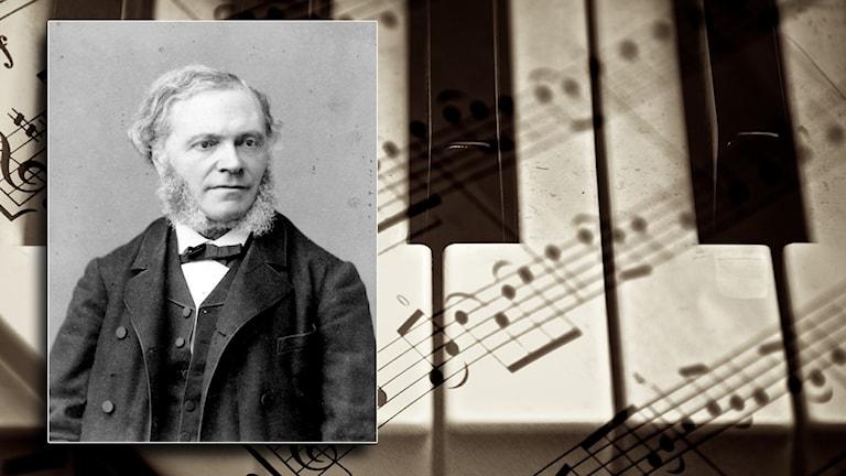En gammal bild på César Frank framför en bild på tangenterna på ett piano och ett notblad.