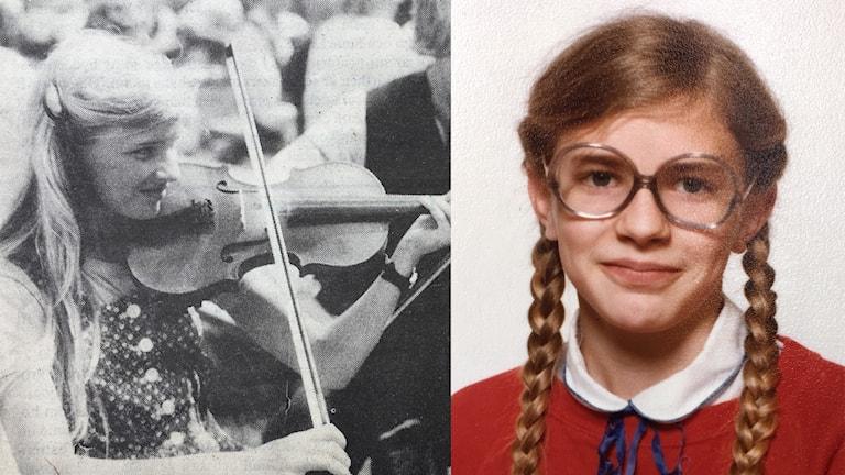 Pernilla Eskilsdotter 12 år spelar fiol på en bild ur en tidning. Till höger ett skolfoto på Pernilla.