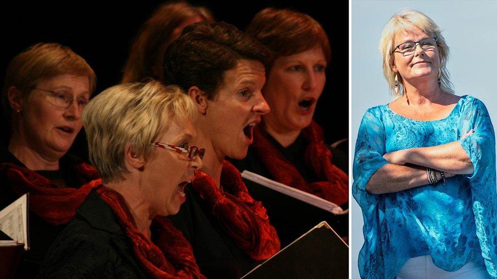 Körförbundets förbundsdirektör Karin Eklundh bredvid en bild på några kvinnliga körsångare som tar i för full hals.