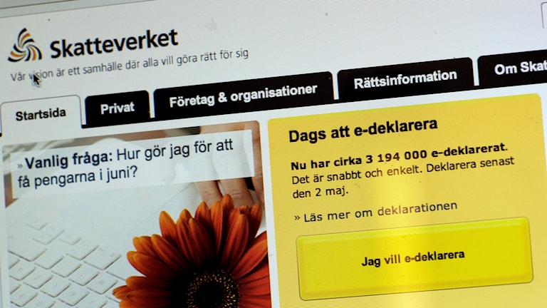 Skatteverkets hemsida med deklarationsinformation.
