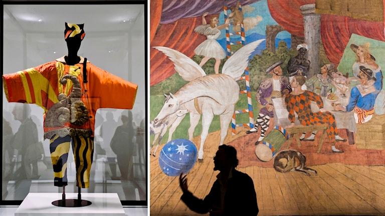 En kostym och en kuliss ur Erik Saties balett Parade som är designade av Pablo Picasso.