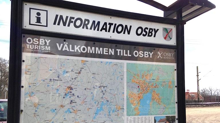 Informations- och välkommenskylt Osby
