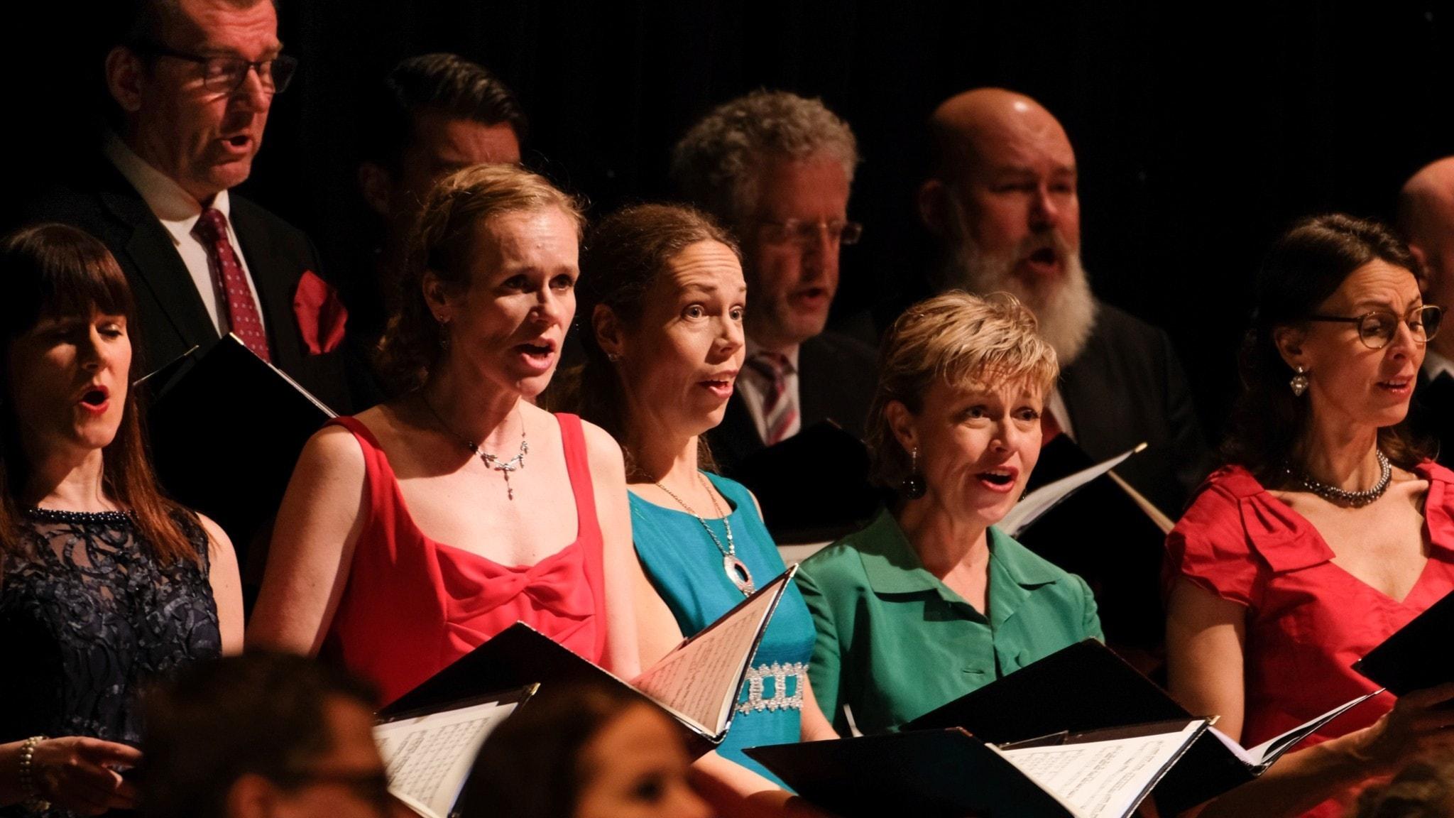 Radiokören, Sveriges Ungdomskör och Sveriges Radios symfoniorkester bjuder på julstämning.