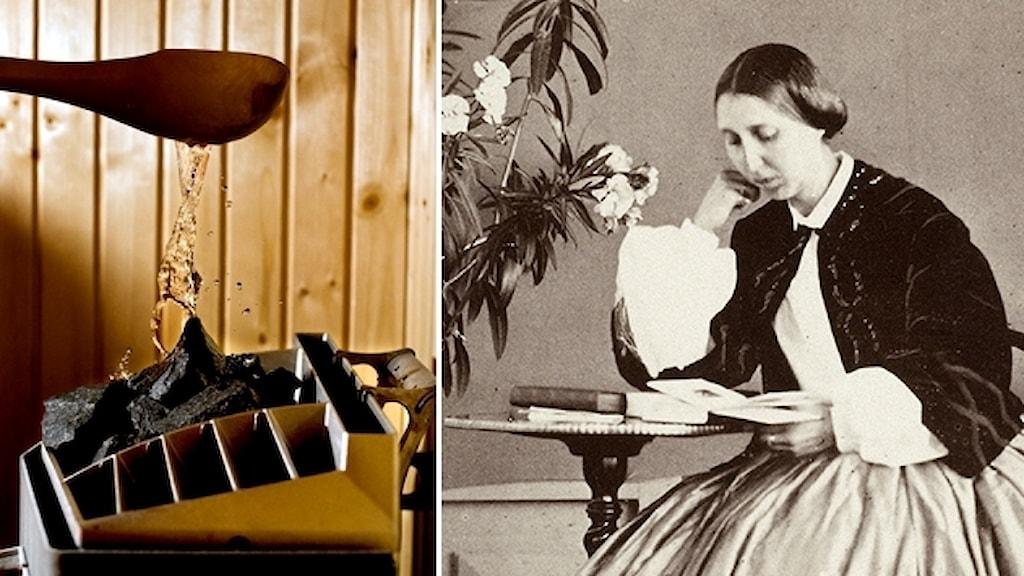 En skopa vatten hälls på de heta stenarna i ett bastuaggregat. Bredvid en bild på Prinsessan Eugenie som sitter vid ett bord och läser i en bok.