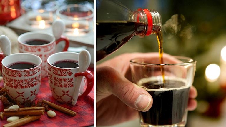 Glögg i tre små koppar, julmust hälls upp i ett glas.