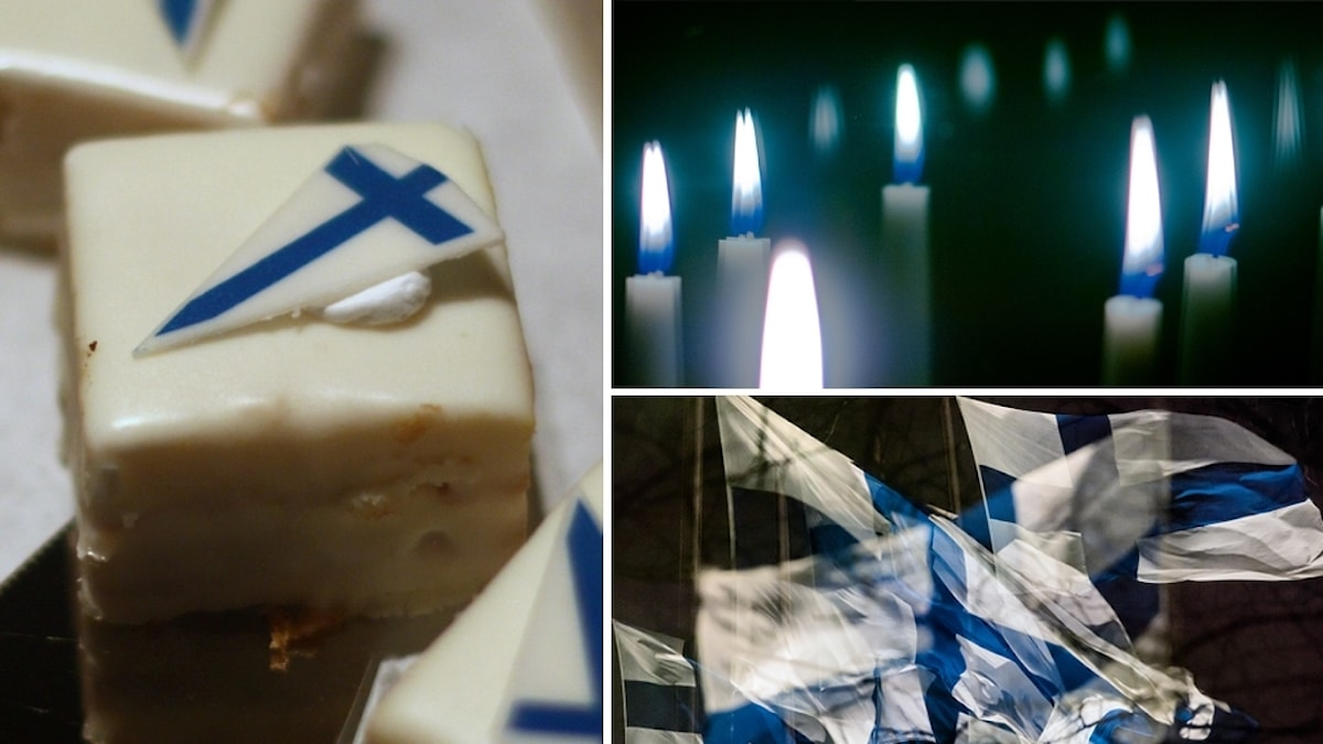 Kollage av tre bilder på finländskt självständighetsdagafirande: bakelse med finländsk flagga, stearinljus i fönster och viftande flaggor.
