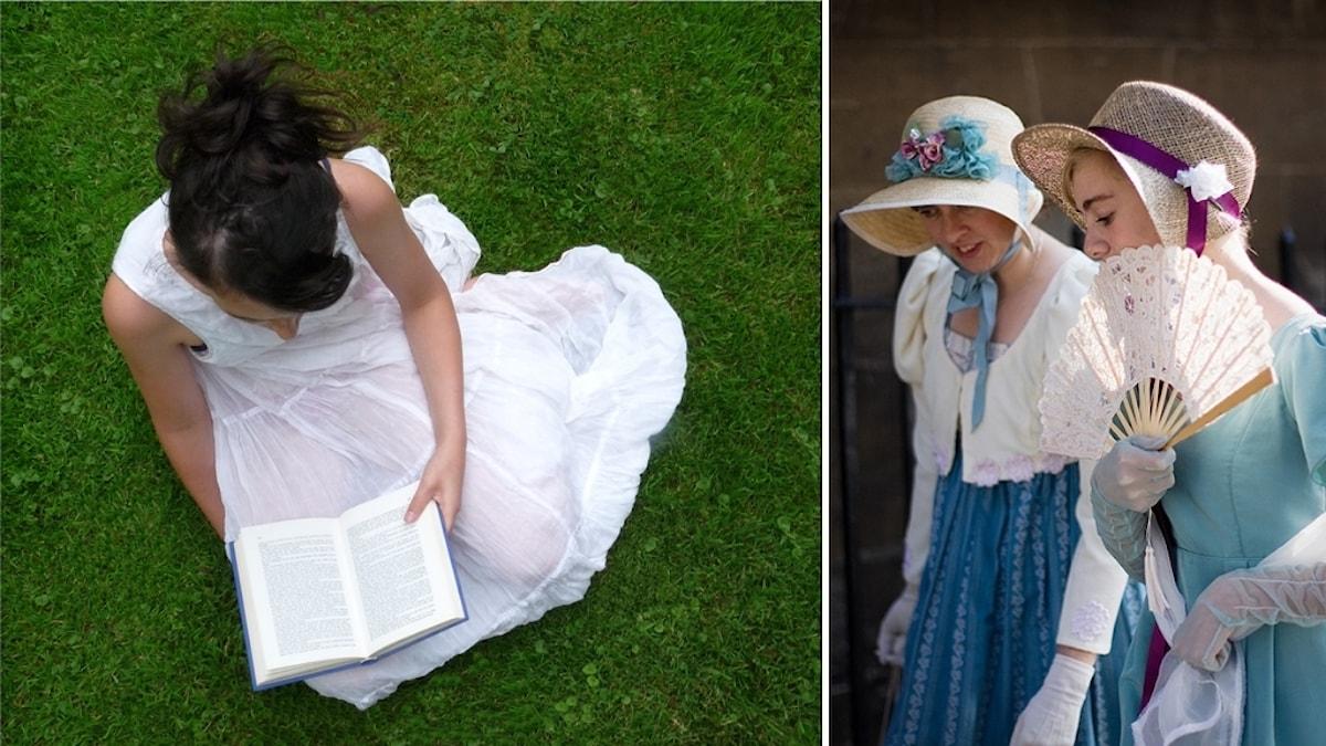 En kvinna i löänning sitter på gräset och läser en bok och två 1800-talsklädda kvinnor med hatt och solfjäder.