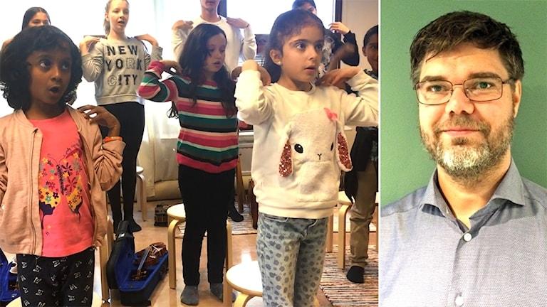 Barn från El Sistema gör rörelser till en sång. Enhetschefen Andreas Rosén.
