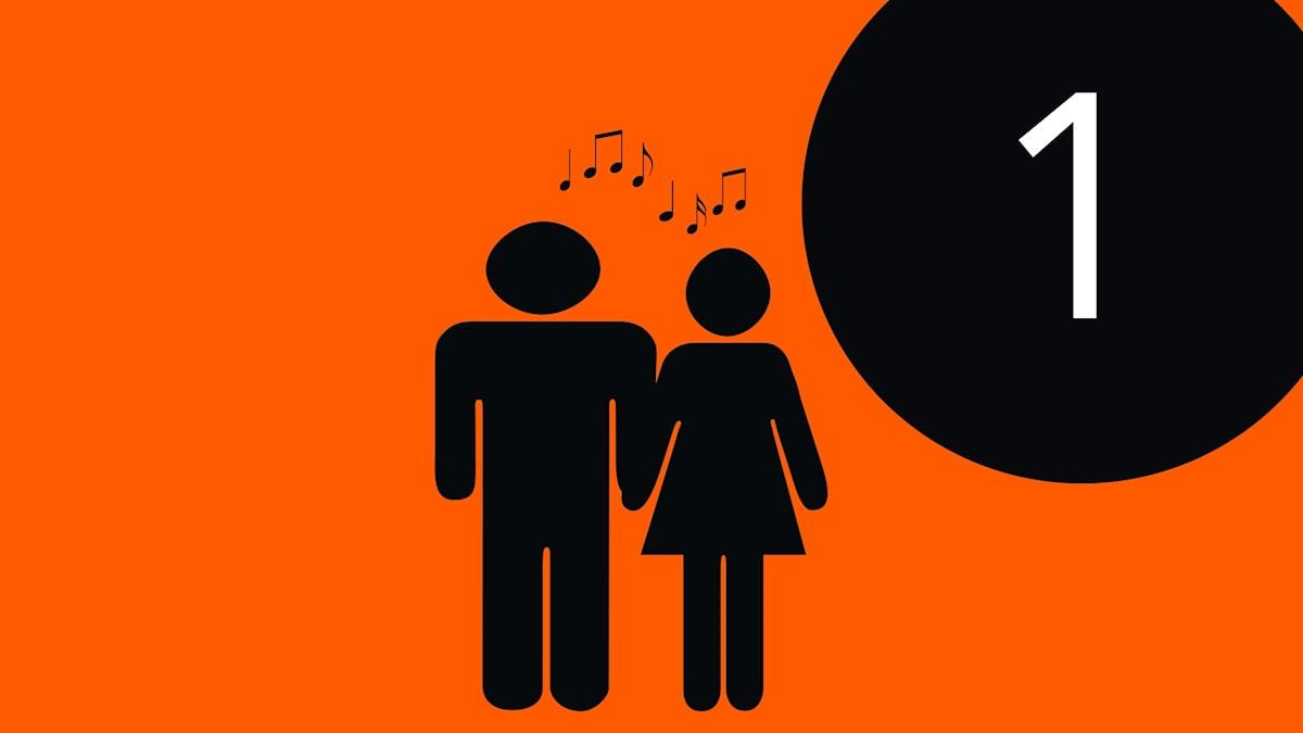 Symbolsiluetter av en man och en kvinna som sjunger duett tillsammans.