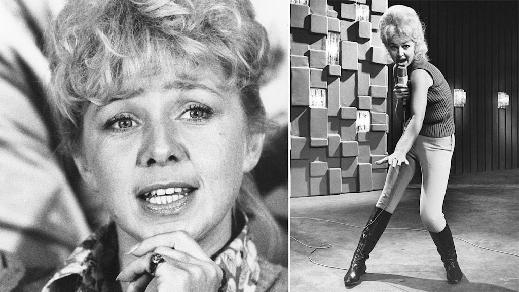 Två bilder på artisten Anita Lindblom - en där hon ler och stödjer sin vänstra hand under sin haka och en där hon sjunger för fullt i en mikrofon.