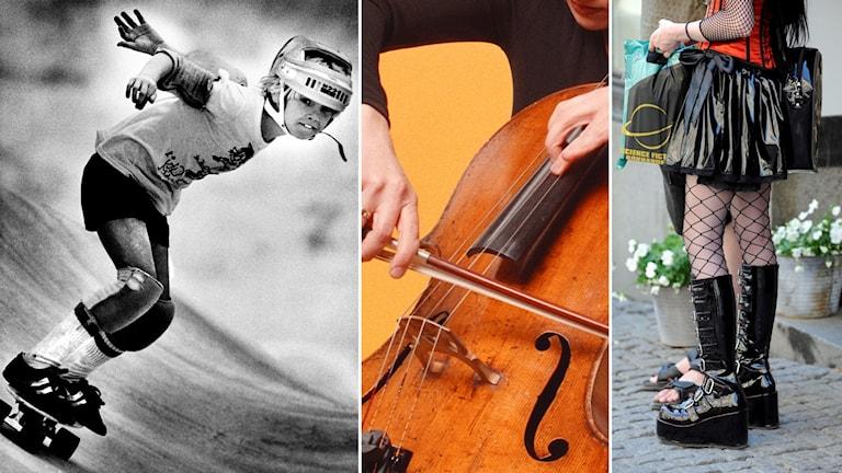 Skateboardåkare med hjälm från 70-talet, cello med stråke och emo-klädd tjej med nätstrumpor och svarta höga lackkängor