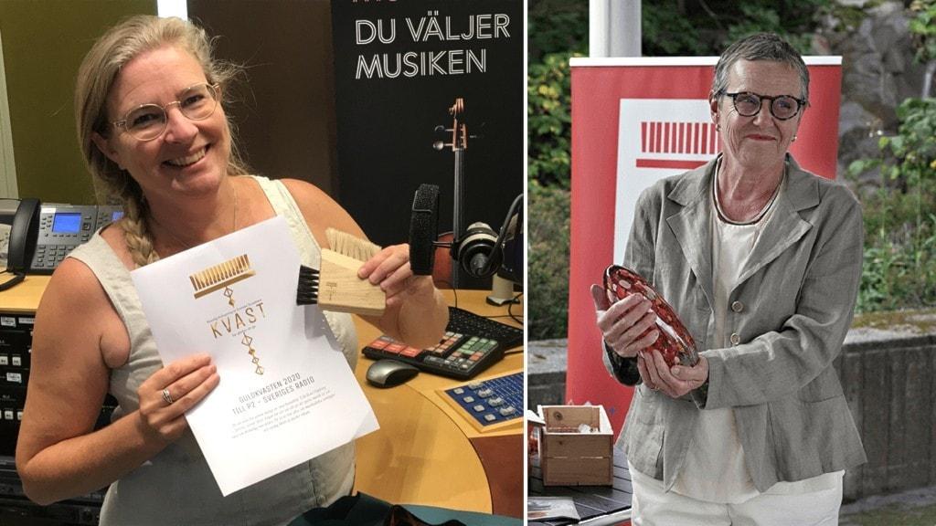 Pernilla Eskilsdotter med diplom och guldkvasten bredvid en bild på P2:s kanalansvariga Elle-Kari Höjeberg som vid en prisceremoni fått motta en glasstatyett.