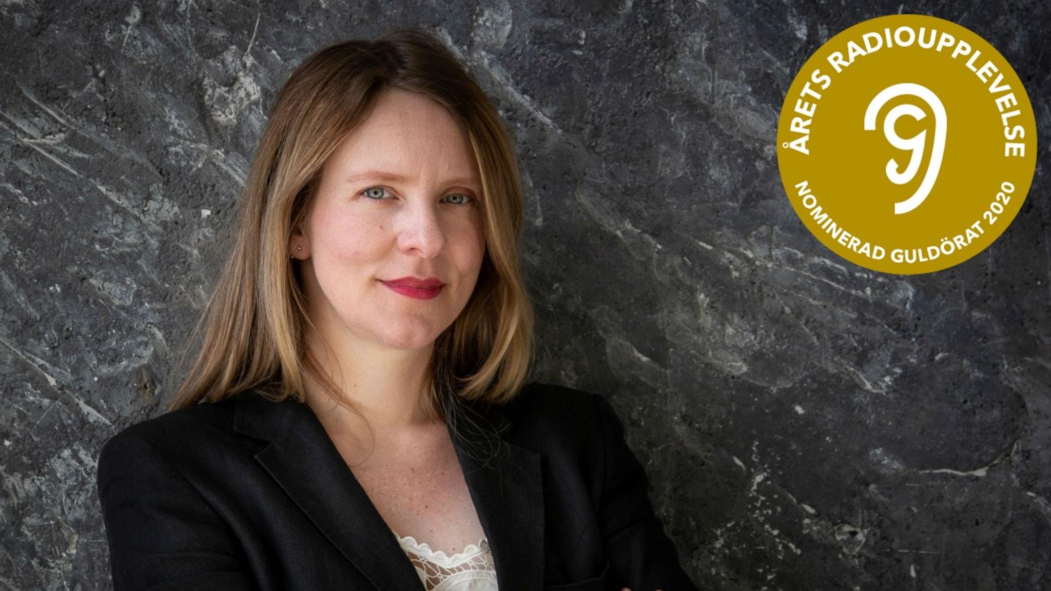 """Edith Söderström och logotypen för guldörat-nomineringen för """"Årets radioupplevelse"""" 2020."""