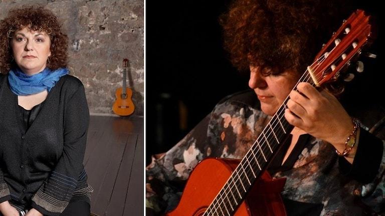 Eva Fampas spelar på sin gitarr.