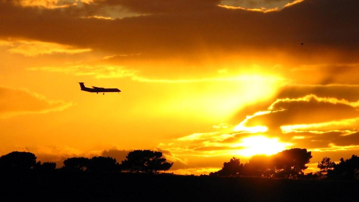 Siluetten av ett flygplan mot en solnedgång.