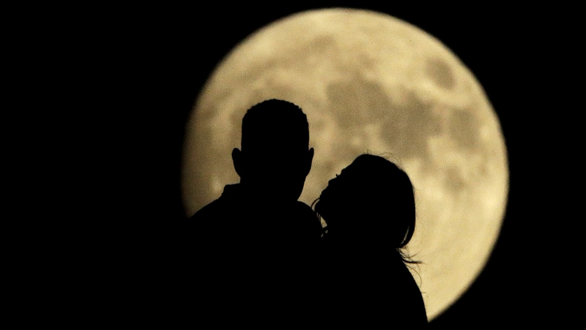 Siluetten av ett par mot en fullmåne.
