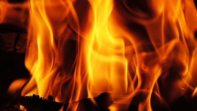 Närbild på eldslågor.