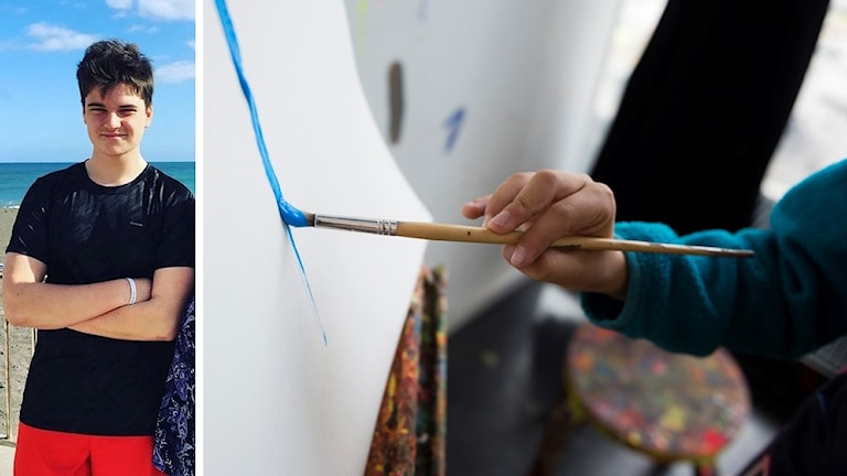 Linus Olsson står med armarna i kors på en badstrand. Barnhand som målar med pensel på papper.