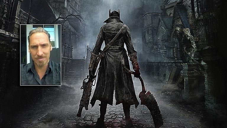 Daniel Nordstrand infälld i en bild från tv-spelet Bloodborne.