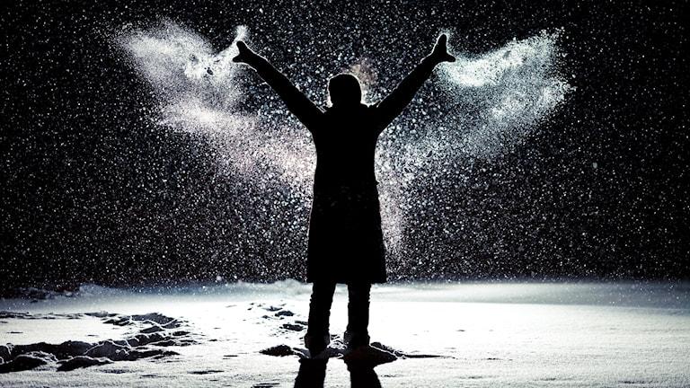"""Siluetten av en människa som slänger ut med armarna så att snö flyger ut åt sidorna och bildar ett par """"vingar"""" likt en ängel."""