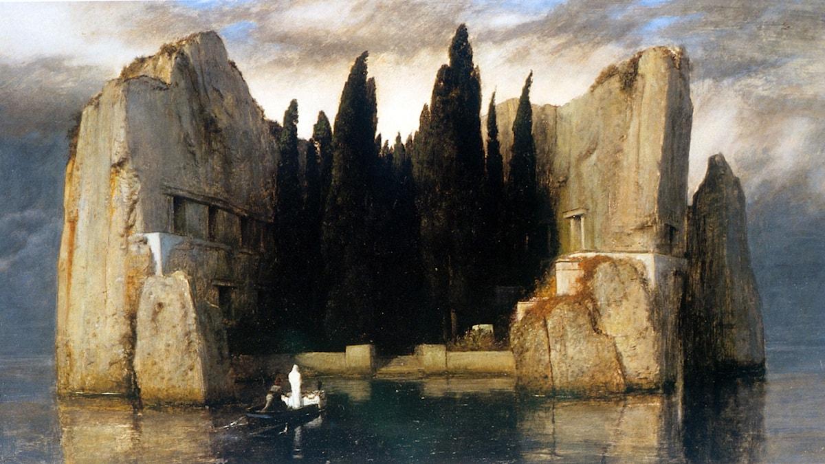 Bild på tavlan Dödens ö av Arnold Böcklin från 1883.
