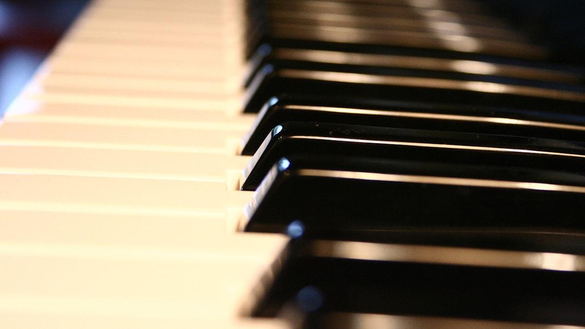 Närbild på de svarta tangenterna på ett piano.