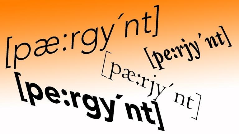Namnet Peer Gynt skrivet med olika fonetiska uttal.