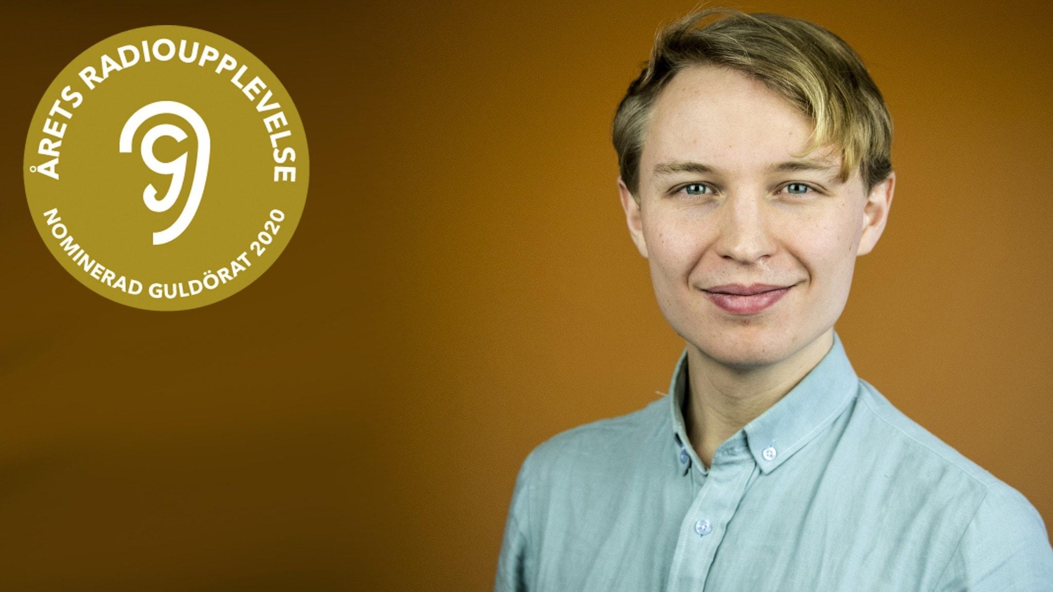 """Jack Lantz och logotypen för guldörat-nomineringen för """"Årets radioupplevelse"""" 2020."""