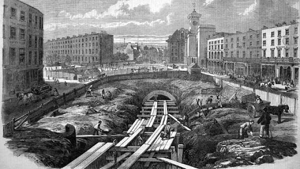 Byggandet av Metropolitan Railway 1860-talet i London