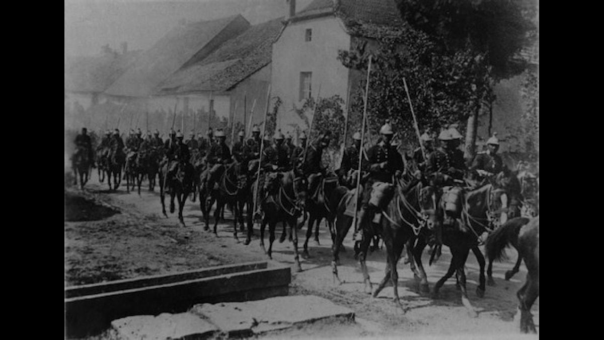 Franska kavalleriet på march i norra Frankrike under första världskriget