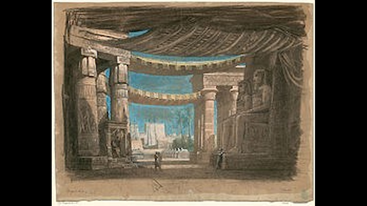 Förslagsskiss på sceneri till premiären av Aida i Kairo, julafton 1871