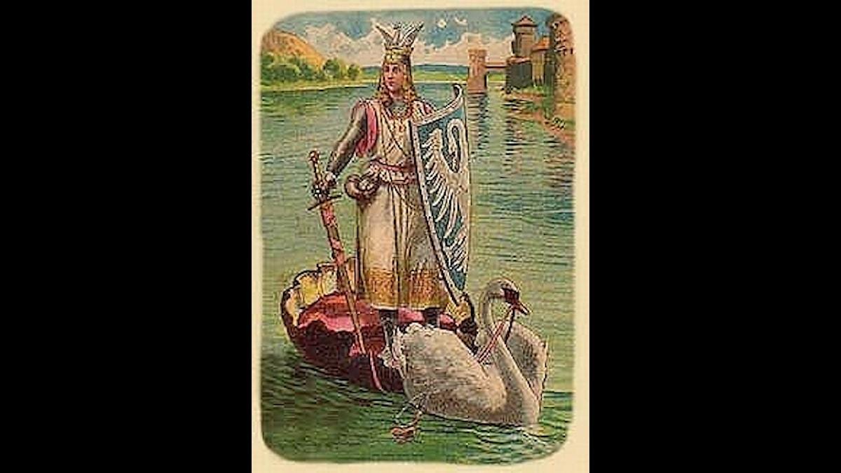 Lohengrin kommer med sin svanbåt. Tur att det inte blåser!