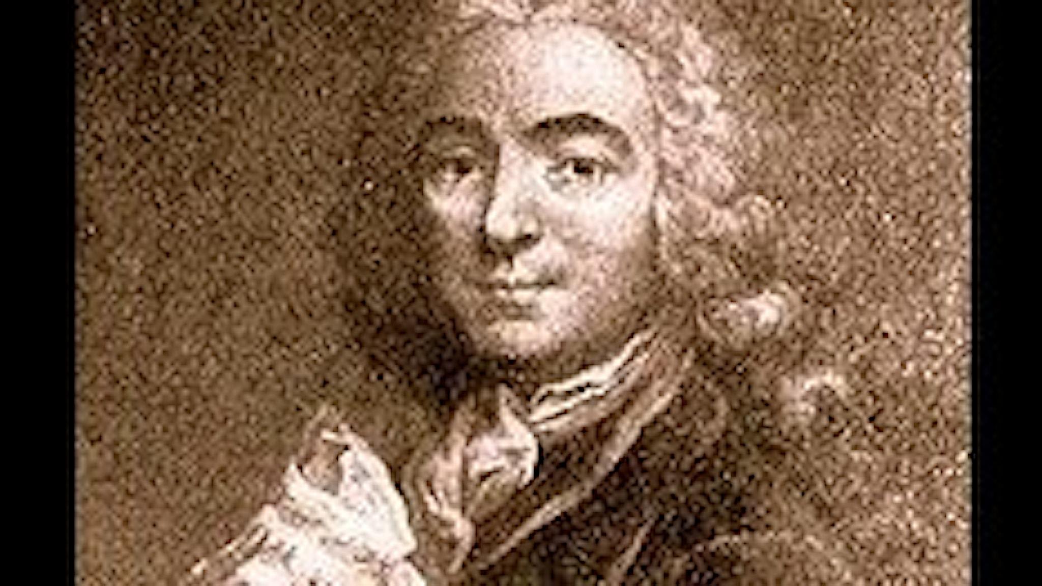 1700-talsgravyr föreställande ung herre, med kråsskjorta och långt lockigt hår.