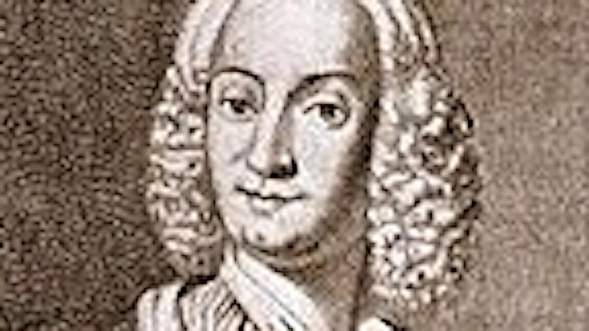 Antonio Vivaldi, tecknat porträtt på en glad man i tjusig peruk från barocken.