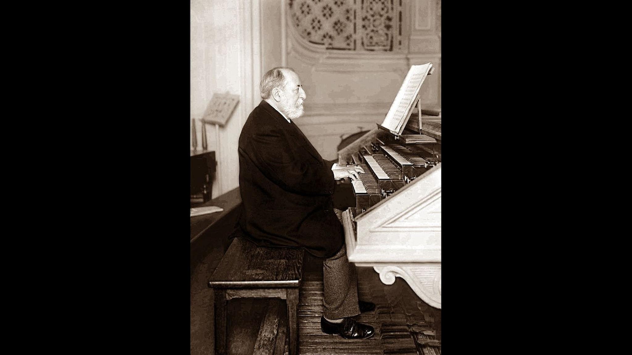 Skäggig man vid orgelspelbordet