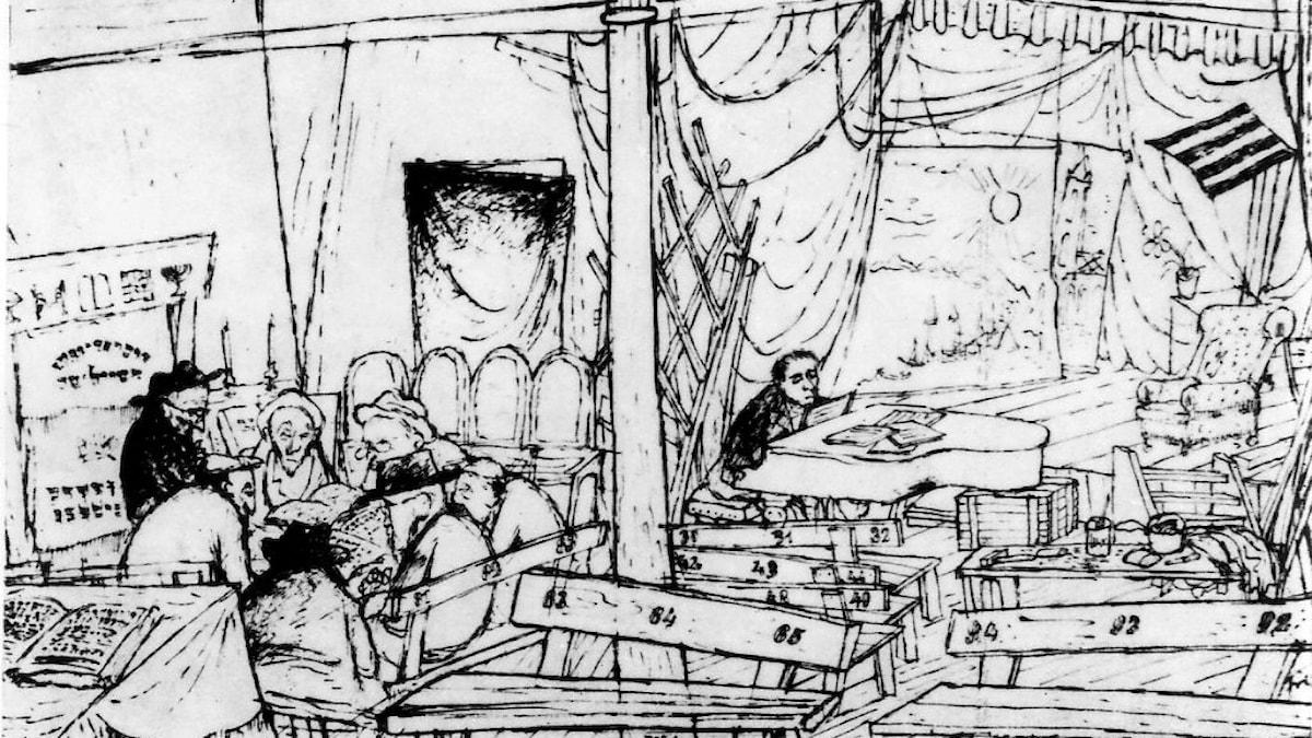 Synagogan och teatern i lägret. Teckning av Bedrich Fritta