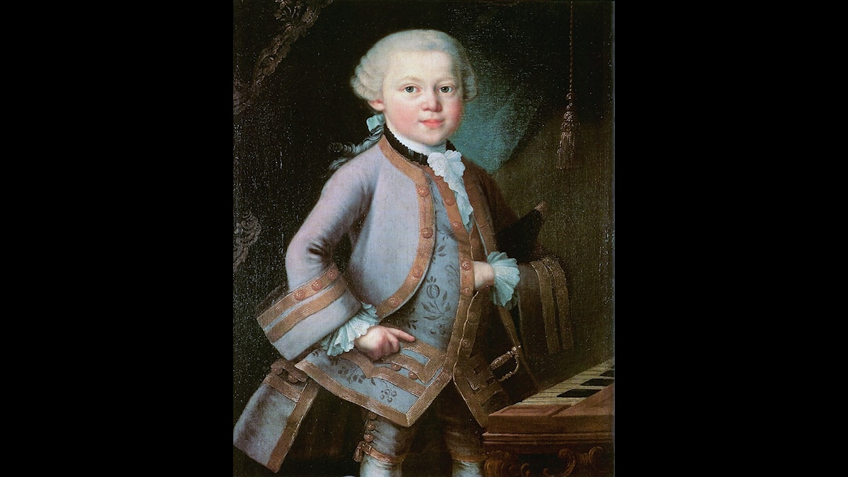 Wolfgang Amadeus Mozart som liten vid klaveret