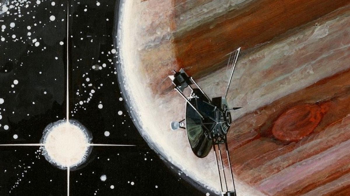En konstnärs vision av Pioneer 10 som flyger förbi Jupiter. Bild: Rick Guidice