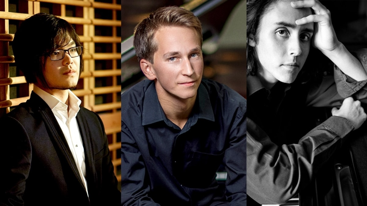 De unga pianisterna Tony Lee, Daumants Liepins och Jean-Babtiste Doulcet.