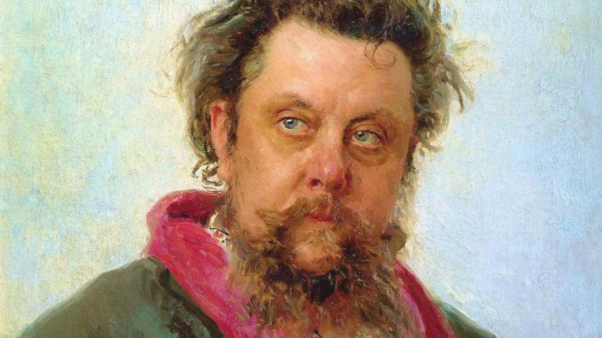 Detalj ur Ilja Repins porträtt av Modest Musorgskij, målat några dagar innan tonsättaren dog. Foto: wikimedia commons