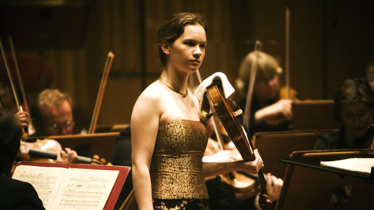 Hillary Hahn under en konsert i Berwaldhallen 2007. Foto: Stina Gullander/Sveriges Radio