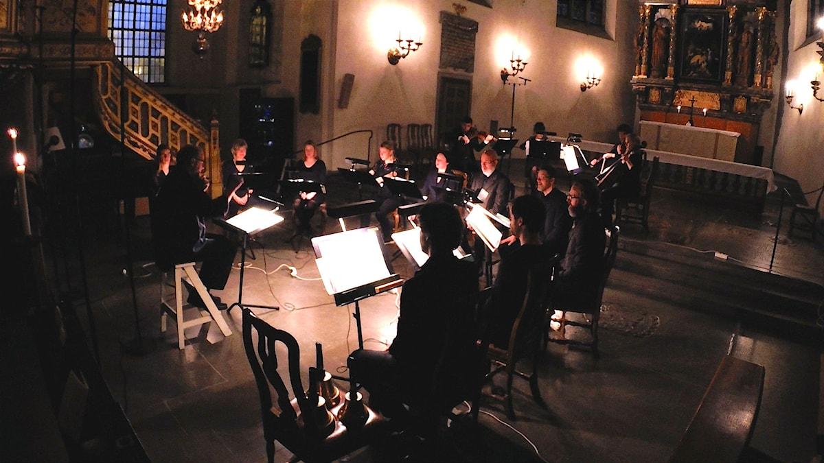 Från inspelningen i Sankt Jacobs kyrka i Stockholm. Foto: Diyar Boskani/Sveriges Radio