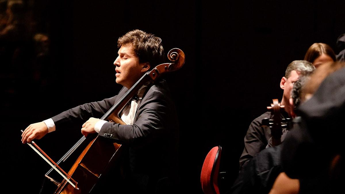 Cellisten Alexander Buzlov spelar Tjajkovskijs Rokokovarioationer. Foto: Arne Hyckenberg/Sveriges Radio