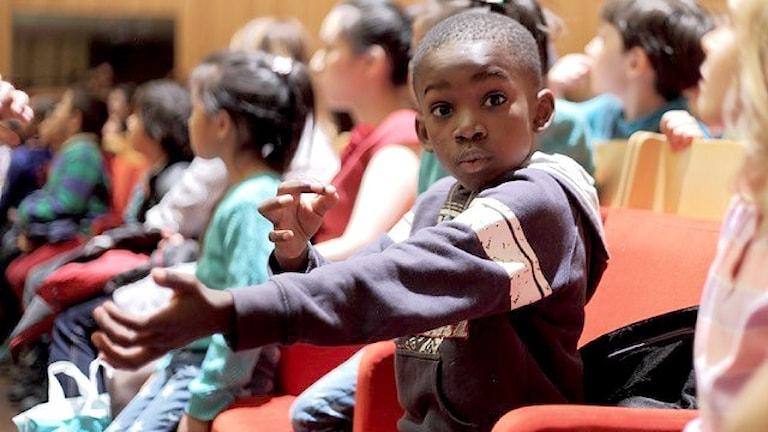 El Sistema-barn på besök i Berwaldhallen. Foto: Alejandra Fernandez/El Sistema