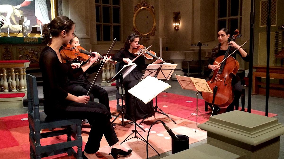 Den franska stråkkvartetten Quatuor Zaïde Foto: Pär Freij/Sveriges Radio